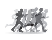 Group people business running monochrome. Stock Photo