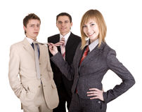 Group of people in business suit. Feminism. Stock Photos