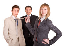 Group of people in business suit. Feminism. Stock Images