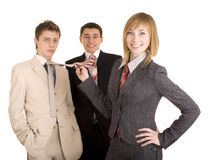Group of people in business suit. Feminism. Isolated Stock Photography