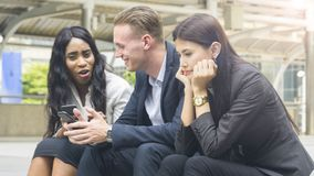 Group people business use smart phone with woman feel stressed a. The group people business use smart phone with women feel stressed and disappointed and sit on Stock Photos