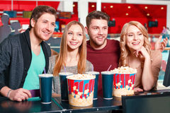 Group of people buying popcorn and coke Royalty Free Stock Photography