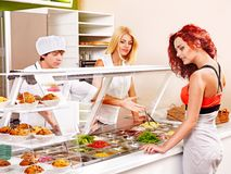 Group people at cafeteria. Royalty Free Stock Photos