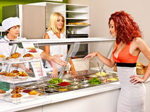 Group people at cafeteria. Royalty Free Stock Image