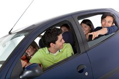 Group of people in a car Royalty Free Stock Image
