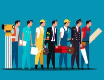 Group of people career characters. Labor day. Concept career character vector illustration. royalty free illustration