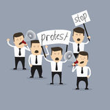 Group of people carrying. Business creative concept. People in crisis with banners protesting. Vector illustration Royalty Free Stock Photography