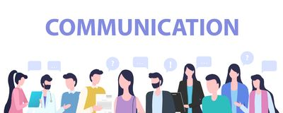 Group People Cartoon Man Woman Communication. Group People Cartoon Man Woman Office Worker Character Communication Vector Illustration. Teamwork Conversation royalty free illustration