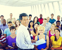 Group People Casual Lecture Teacher Speaker Notes Concept stock photo