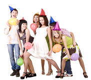 Group of people celebrate birthday. Royalty Free Stock Image