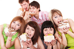 Group of people celebrate birthday. Stock Photos