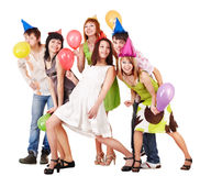 Group of people celebrate birthday. Stock Photo