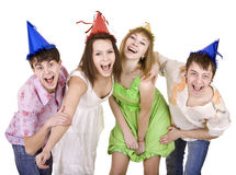 Group of  people celebrate birthday. Isolated. Royalty Free Stock Photos
