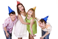Group of people celebrate happy birthday. Royalty Free Stock Photos