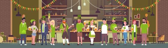 Group Of People Celebrate St. Patricks Day Holiday In Traditional Decorated Irish Pub Drinking Beer Horizontal Banner. Flat Vector Illustration Royalty Free Stock Photo