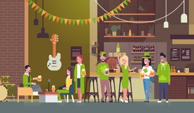 Group Of People Celebrate Traditional Saint Patricks Day In Pub Wearing Green Coustumes And Hats Drinking Beer. Flat Vector Illustration Royalty Free Stock Image