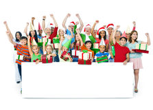 Group of People Celebrating on Christmas Royalty Free Stock Image