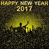 Group of  people  celebrating New Year`s Eve, 2017. Group of  people silhouettes celebrating New Year`s Eve, 2017 Stock Image