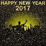 Group of  people  celebrating New Year`s Eve, 2017 Stock Image