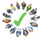 Group of People and Checked Mark.  stock images