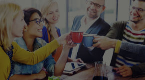 Group of People Cheers Coffee Break Concept Stock Image