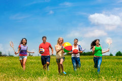 Group people with children running Stock Photos