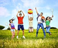 Group people with children running. Stock Photos