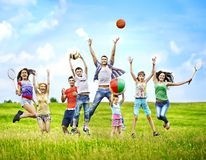 Group people with children running. Stock Images