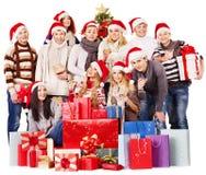 Group people and  Christmas tree. Stock Image