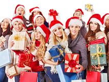 Group people and  Christmas tree. Royalty Free Stock Image