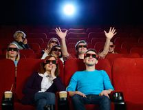 Group of people in cinema Royalty Free Stock Image