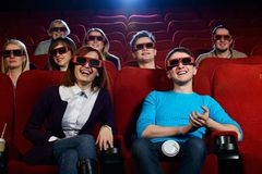 Group of people in cinema Stock Image
