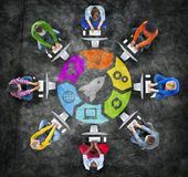Group of People in Circle with Technology Concept Stock Image