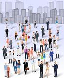 Group of people in the city. Large group crowd of people on city skyline background poster vector illustration Stock Images
