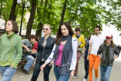 Group of people on city. Music. Stock Image