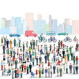 Group of people in city vector illustration
