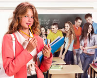 Group people in classroom Stock Image