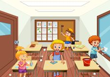 Group of people cleaning classroom royalty free illustration