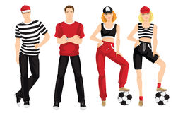 Group of people in clothes for sport. Vector illustration of young man in sportswear  on white background. Group of people in clothes for sport or fitness Stock Image