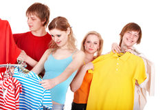 Group people in clothing shop Royalty Free Stock Photos