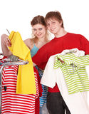 Group people in clothing shop. Royalty Free Stock Photos