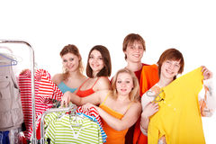 Group people in clothing shop. Royalty Free Stock Image