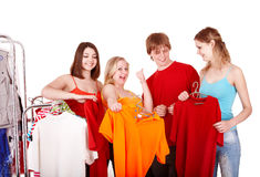 Group people in clothing shop Royalty Free Stock Photography