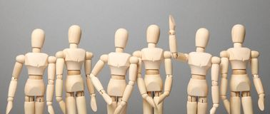 Group of people communicate and ask questions, solving  problem. Raised hand up, question royalty free stock images