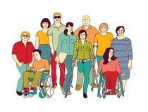 Group people community with disabilities color. Color vector illustration EPS8 stock illustration