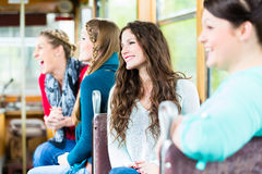 Group of people commuting in tram Royalty Free Stock Image