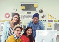 Group of people on computer in front of office desk graphics Royalty Free Stock Image