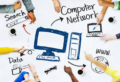Group of People with Computer Network Concept Royalty Free Stock Photo