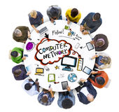 Group of People and Computer Network Concepts Stock Image