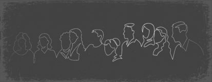 Group of people continuous one line vector drawing. Family, friends hand drawn characters silhouette clipart. Crowd standing at concert, meeting. Women and men royalty free illustration